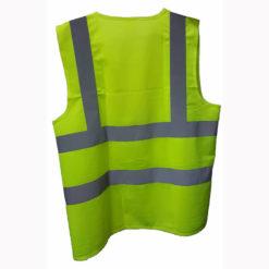 เสื้อสะท้อนแสง สีเขียว ด้านหลัง